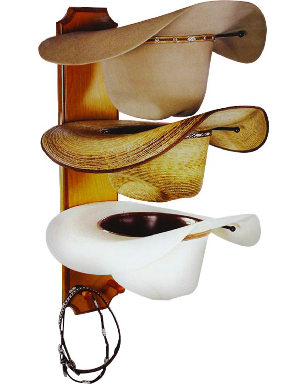 bb ranch rolled oak 3 tiered cowboy hat rack boot barn