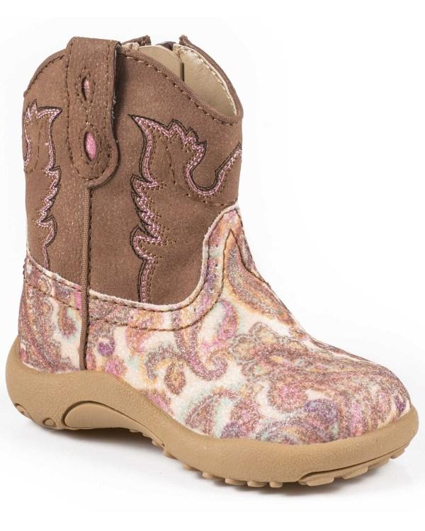 Roper Infant Girls' Pink Glitter Paisley Cowbabies Boots