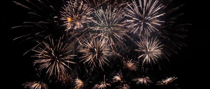 sparkling bright fireworks in black sky