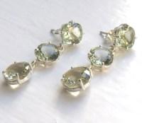 Green Amethyst Droplet Earrings | Green Amethyst Jewellery
