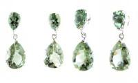 Green Amethyst Stud & Droplet Earrings | Gemstone Earrings