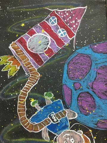 student artists participate in