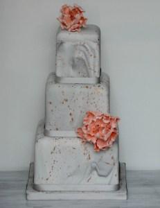 Grey marbled wedding cake