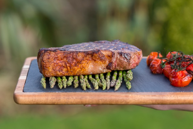 Rustic asparagus and sirloin steak - private chef menu