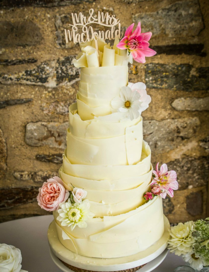 White chocolate wrapped wedding cake