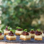 Goats cheese-cake topped with fig chutney