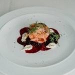 Smoked salmon with slice beetroot fine dining