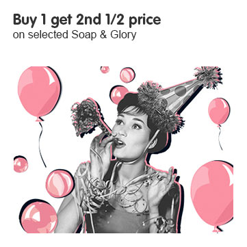 buy one get second half price on selected soap and glory