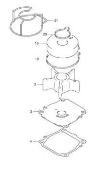 Wasserpumpen Reparatur-Satz für Suzuki DF 90 / DF 100 / DF