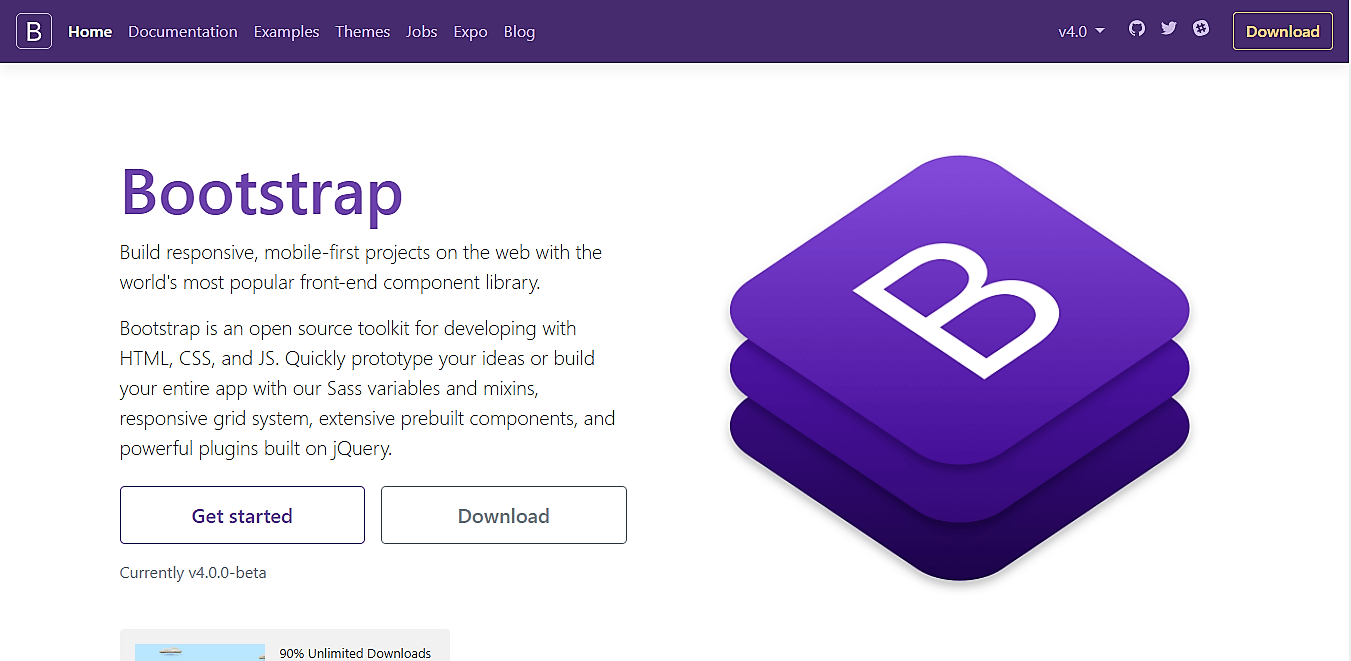 Bootstrap 4 beta homepage