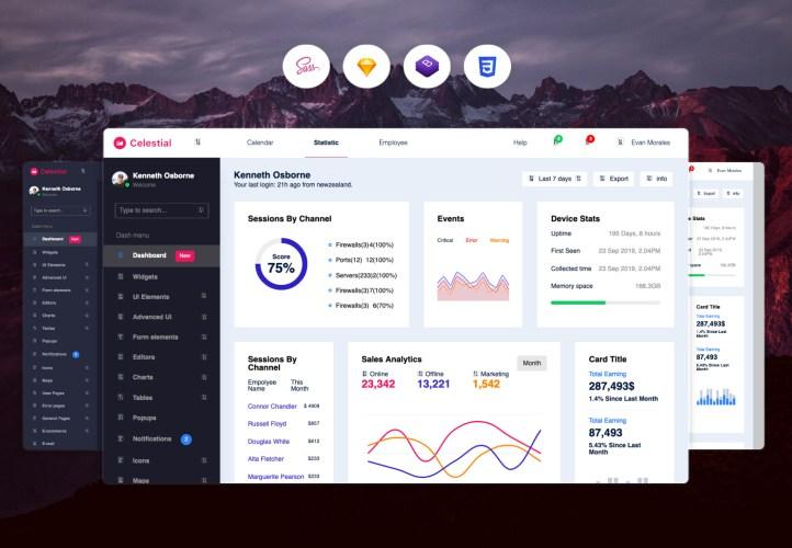 admin template CELESTIAL admin dashboard
