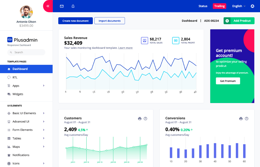 plus react vertical dashboard