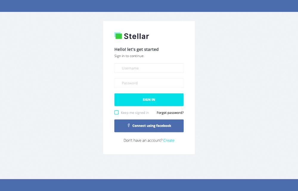 Login page of Stellar Angular Dashboard