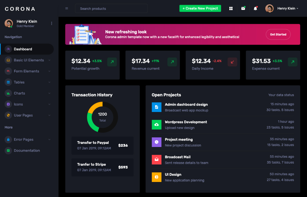 Corona react admin template free dashboard