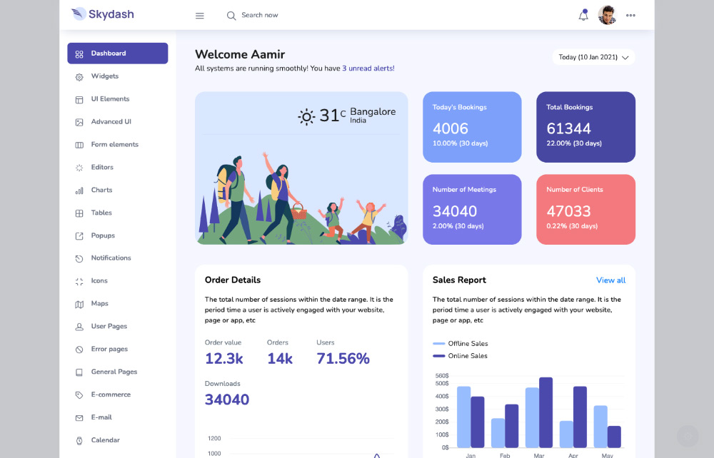boxed layout of skydash admin template