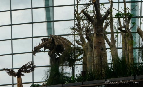 One of the wood-carved dragons in the Flower Dome