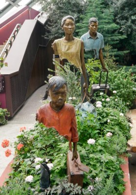 Sculptures among the flowers