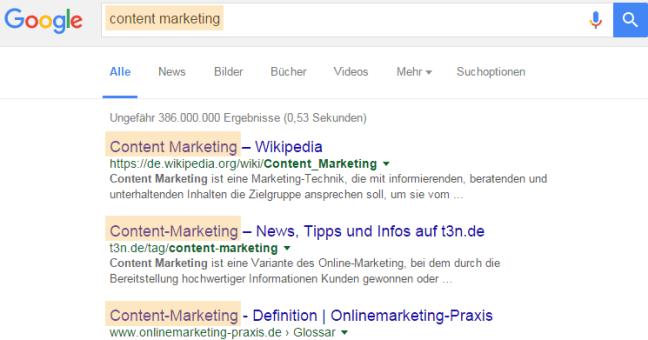 Google Title-Tags in den Suchergebnissen