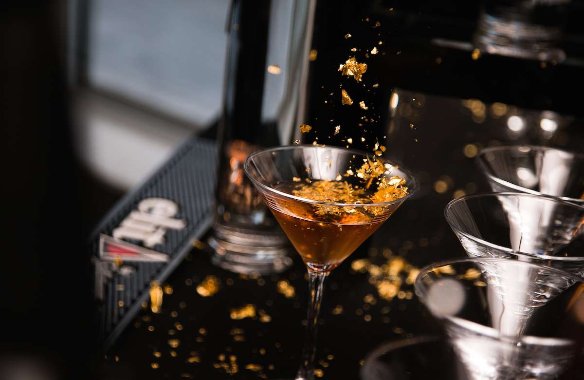 NYE cocktail that dabbles in absinthe and edible gold