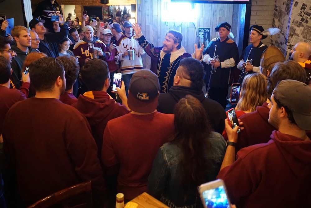 Bud Light's dilly dilly king shows up at bar to celebrate Loyola Ramblers Sweet Sixteen win