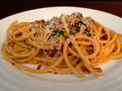 Bucatini Carbonara –  Bacon and Eggs pasta at its best…