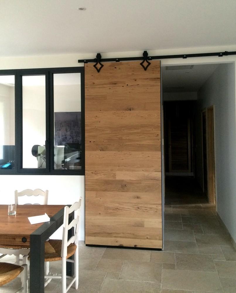 porte bois porte coulissante en bois chene