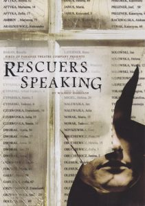 A poster from 'Rescuers Speaking'. It shows part of a face peering from behind a ripped piece of paper