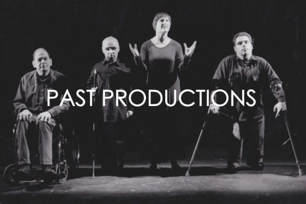 White texts reads 'Past Productions'. The text is placed over a black and white image of some actors on stage.