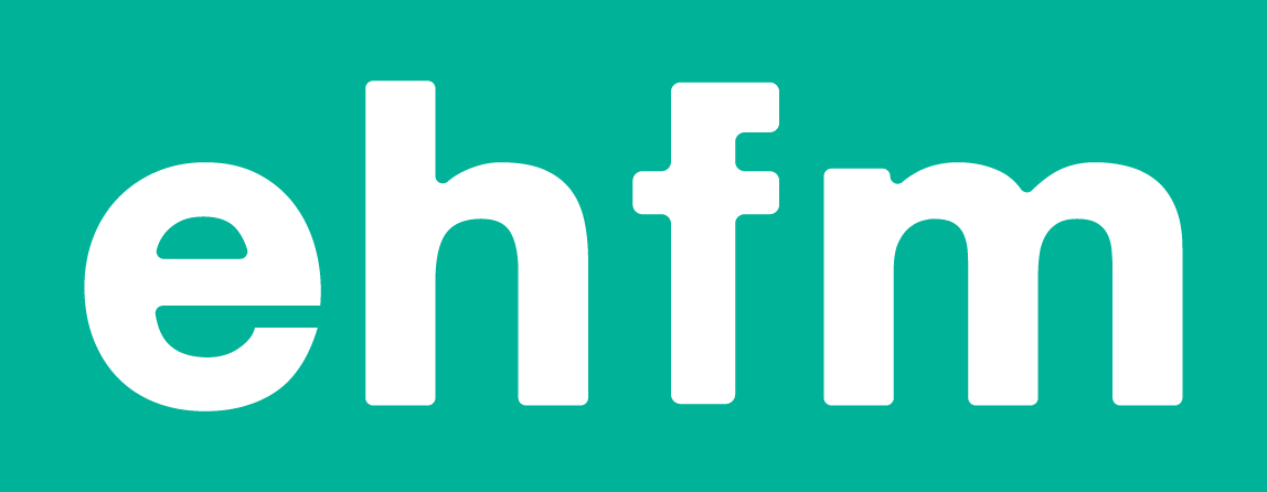 EH-FM logo: lowercase letters e h f m in white on a bright green / turquoize background