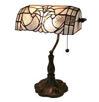 Floral Banker Tiffany Style Table Lamp 13 In