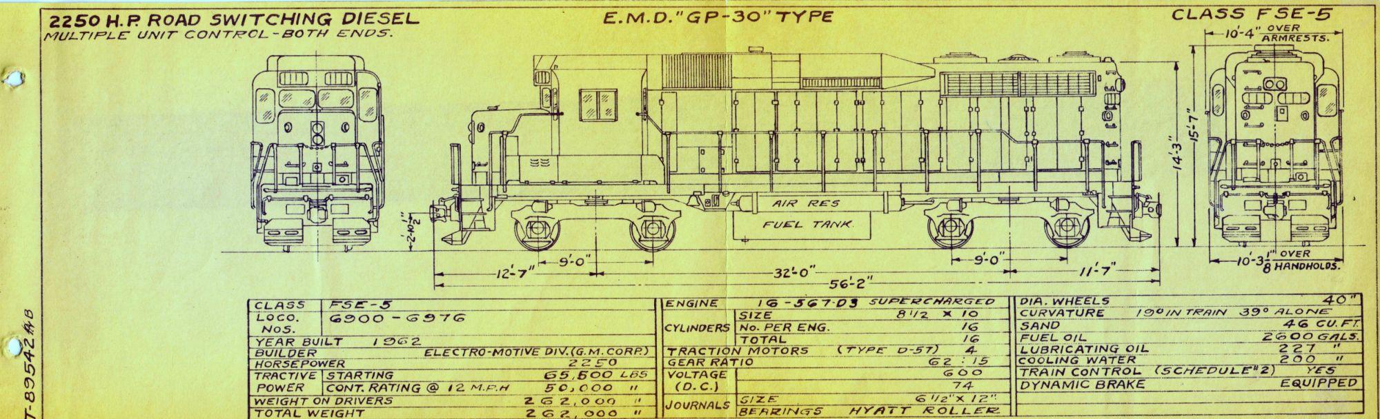 hight resolution of emd gp 30 type class fse 5