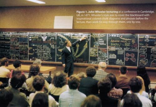 Lecture board for a John Wheeler lecture. Scanned from Physics Today, April 2009