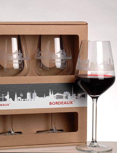 Lot de 2 verres à vin BORDEAUX Skyline ® - cadeau de Bordeaux