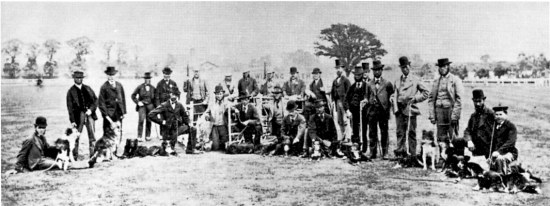 Competitors at the Muswell Hill Trials, London in 1876, just three years after the first recorded trial in Bala, Wales.