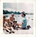 Mom with Oreo at City Park Lake, Denver in 1975