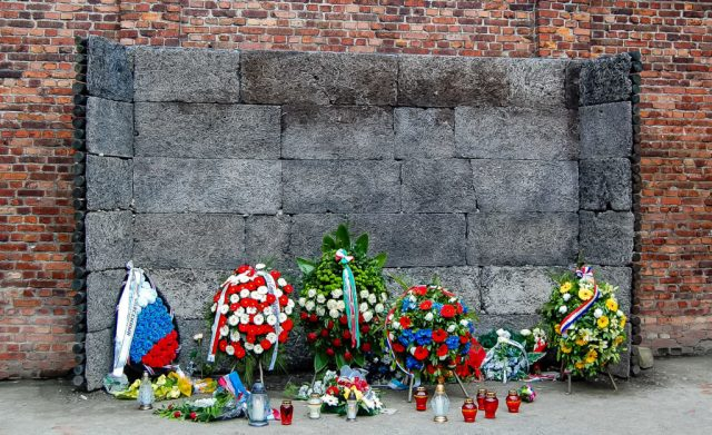 A closer photo. Death Wall, Auschwitz