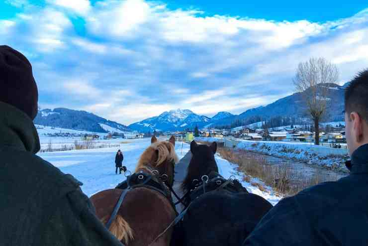 Horse and cart ride in St.Johann, winter in Austria