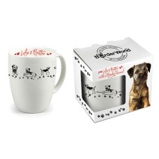 Border Terrier White China Mugs