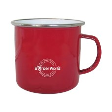 Enamel Border Terrier Mug in Red Rear