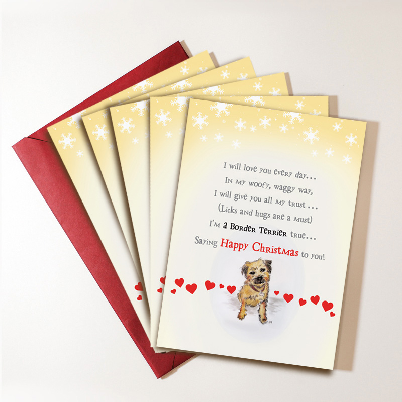 Pack of Six Border Terrier Christmas Cards