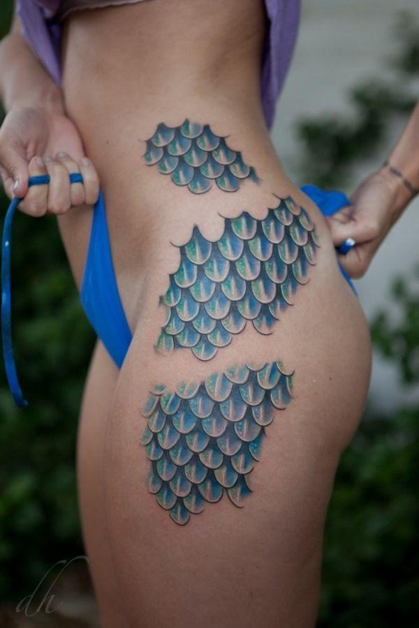 Mermaid Scale Tattoo Thigh