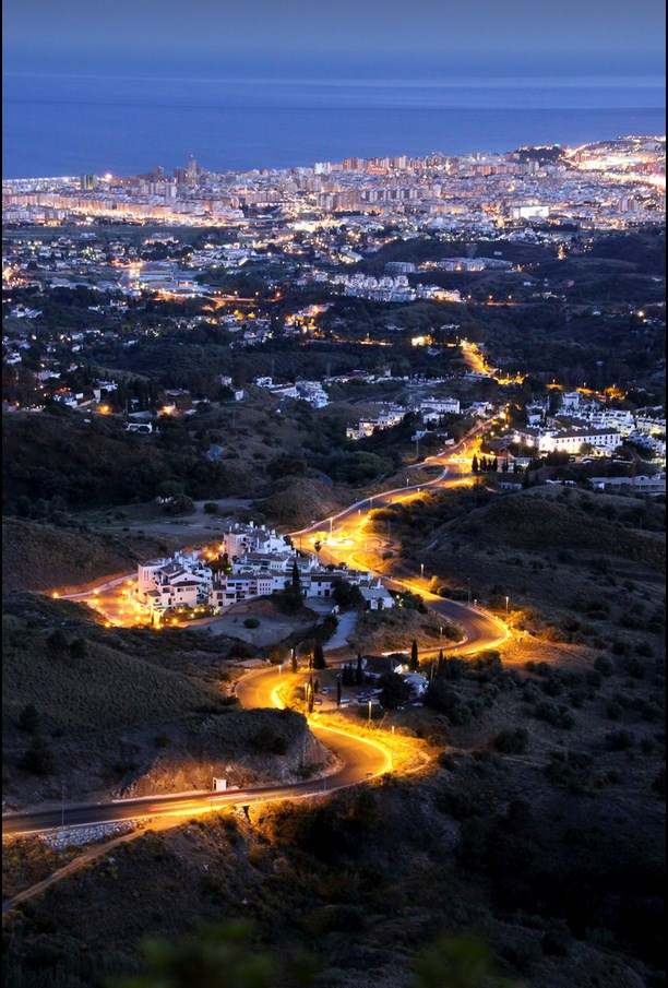 Fuengirola at dusk from Mijas, Spain