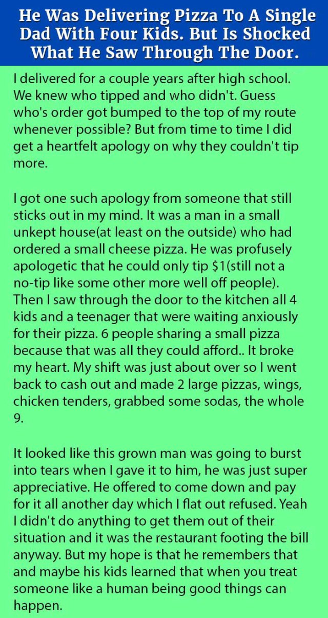 He Was Delivering Pizza To A Single Dad With Four Kids. But Is Shocked What He Saw Through The Door.