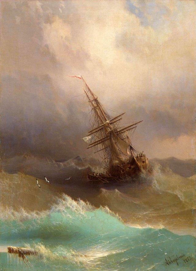 pintura-olas-mar-barcos-ivan-konstantinovich aivazovsky (6)