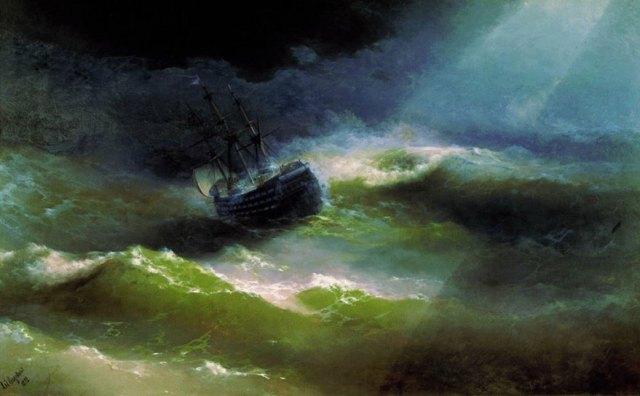pintura-olas-mar-barcos-ivan-konstantinovich aivazovsky (7)