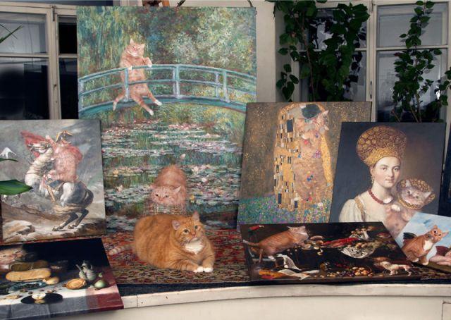 pinturas-famosas-con-gato-Ginger-svetlana-petrova (11)