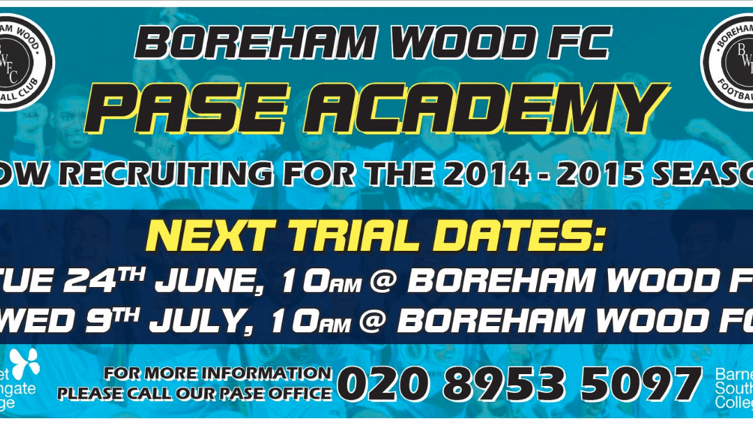 COULD YOU BE THE NEXT TO PROGRESS FROM THE PASE ACADEMY INTO THE FOOTBALL LEAGUE? NEW TRIAL DATES ANNOUNCED