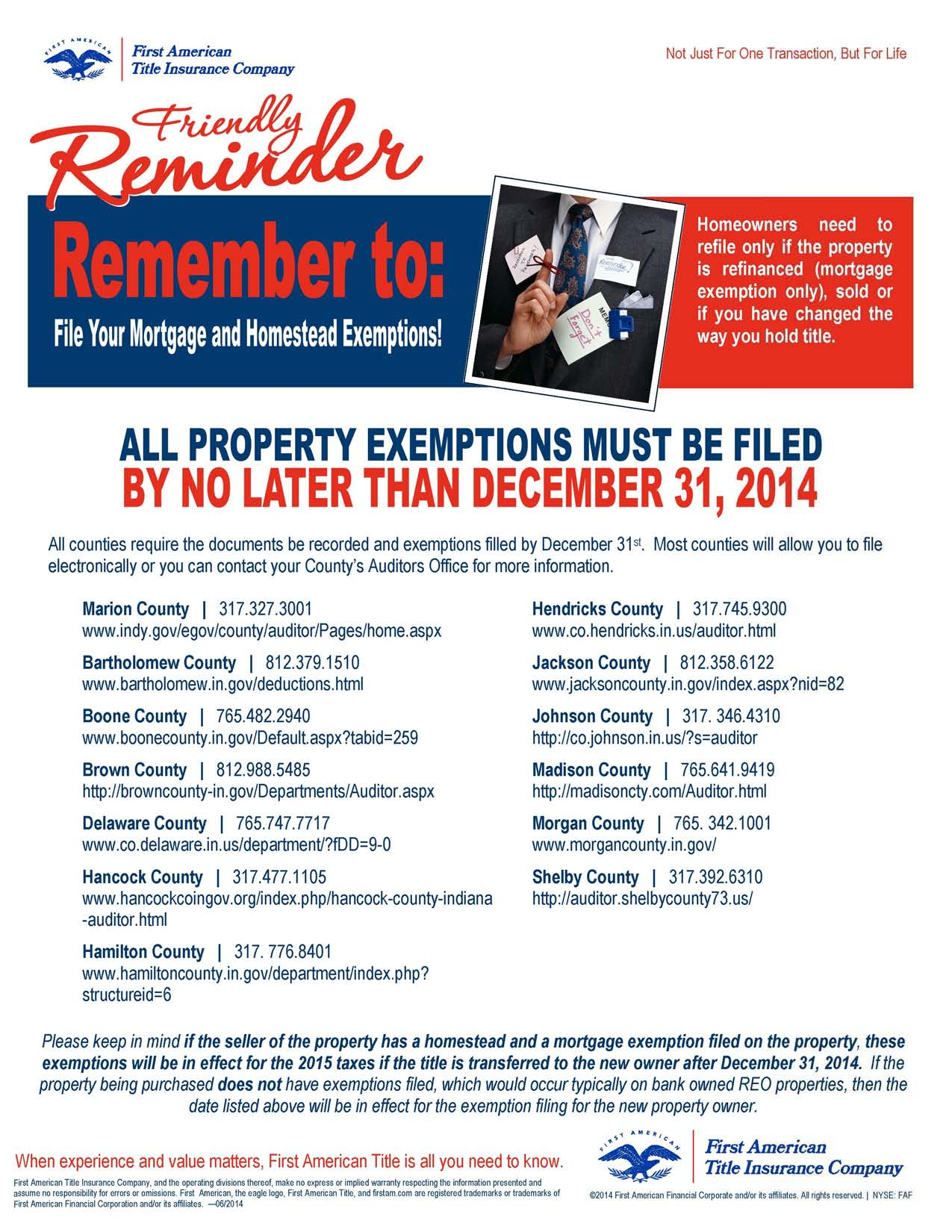 Don't forget to File your Exemptions!