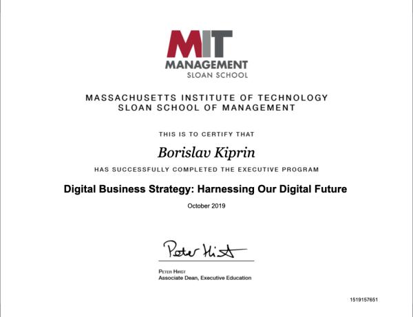 MIT Borislav Kiprin Certificate