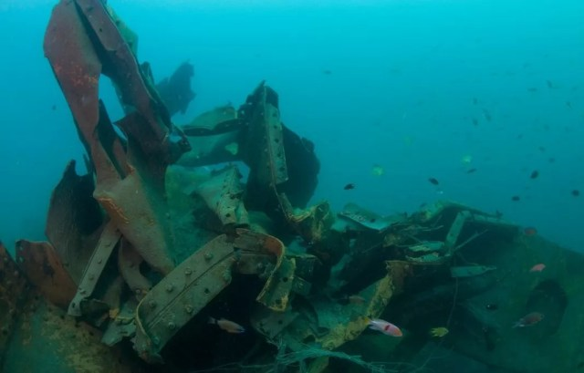 Rice Bowl Wreck, one of three Japanese second world war ships that lie off the coast of Borneo and have been destroyed by a metal salvage operation. Photograph: Supplied